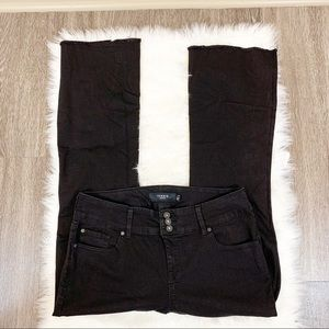 Torrid Bootcut Black Denim Jeans Raw Hem